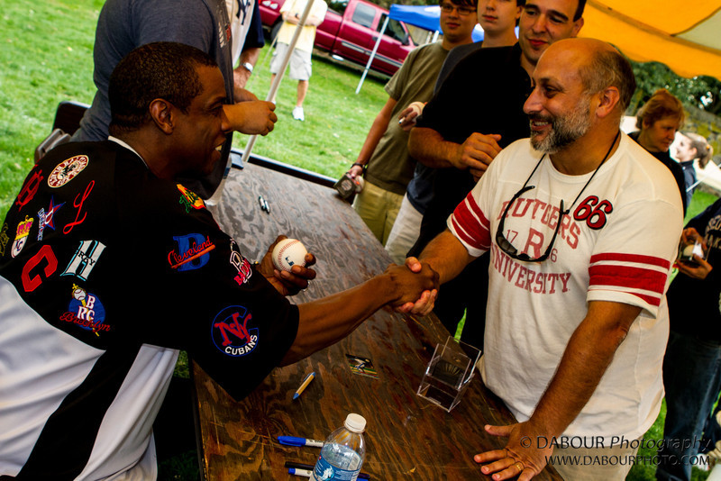 """Antonio Iannitelli shakes hands with Dwight """"Doc"""" Gooden, former NY Yankee & Mets Pitcher at the Greenwich twp Community Day 2012. Express times photo by 