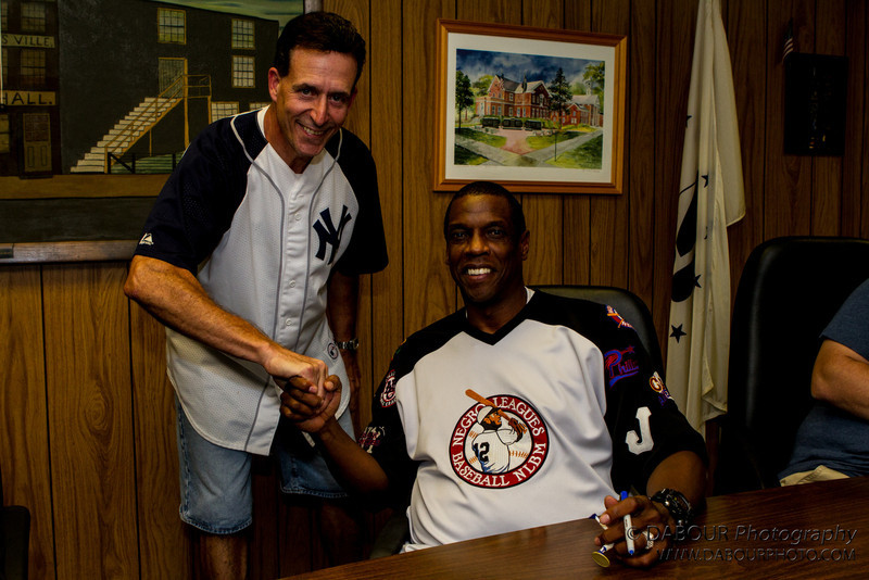 """Greenwich Twp. Engineer Mike Finelli  with Dwight """"Doc"""" Gooden, former NY Yankee and Mets  at the Greenwich Township Community Day 2012."""