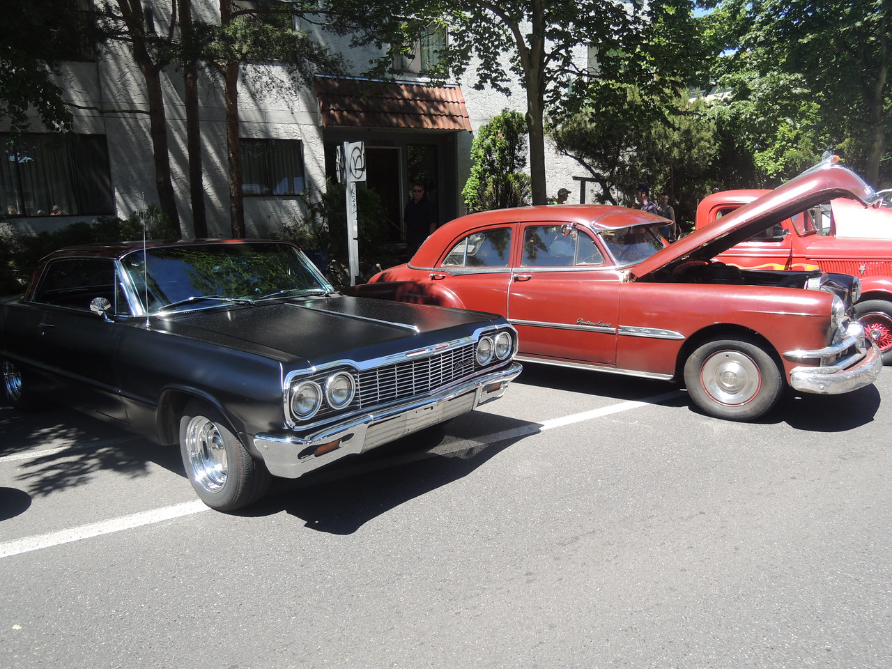 1964 Chevy next to the 1951 Pontiac