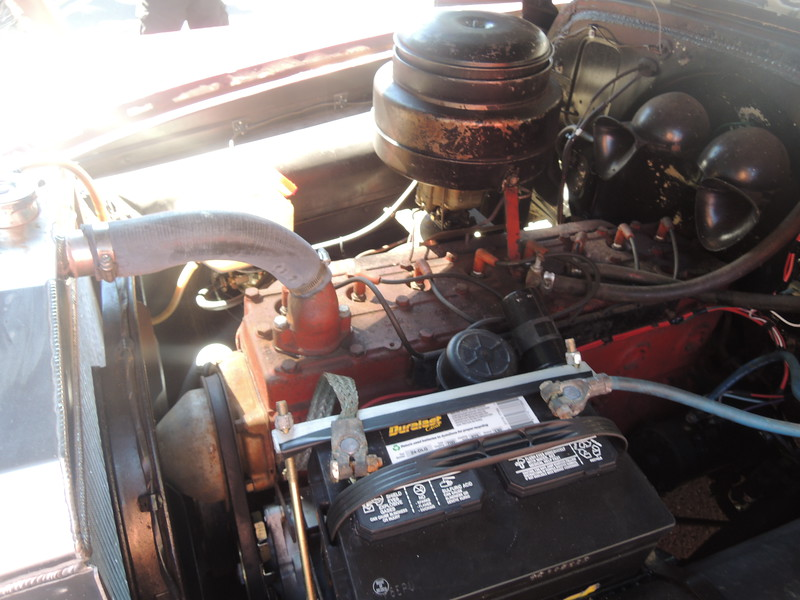 The mighty 8 cylinder engine in the 1951 Pontiac
