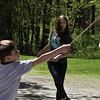 Groton Womens Club holds Back in Time event at the Williams Barn, to show life in the 1700s in the community. Alyssa Peeters, 14, and her brother Alex Peeters, 8, of Groton, play a game with hoops and sticks. (SUN/Julia Malakie)
