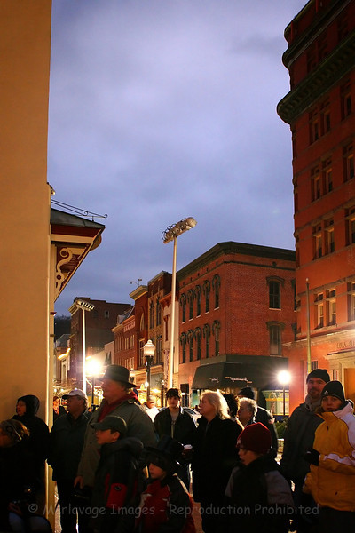The crowd gathers in downtown Cumberland