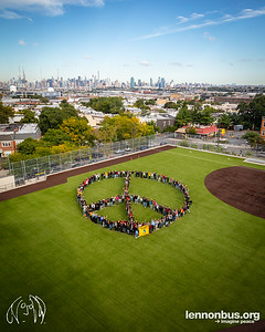 2018_09_24, Grover Cleveland High School, Human Peace Sign, NY, Peace Sign, Ridgewood