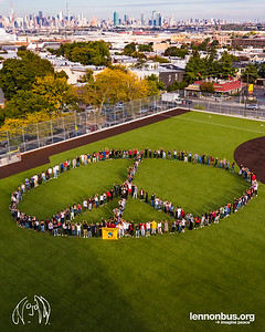 2017_10_06, Grover Cleveland High School, human peace sign, lennonbus.org, lennonface, Matt Reich, NY, Ridgewood