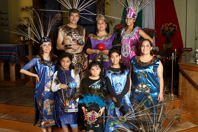 (Clockwise, from top left) Lorenzo Hernandez has kept the tradition of Our Lady of Guadalupe a family affair through dancing. The other dancers include his wife Rebeca, his nieces Iris (14) and Ruby (27), his cousin Ariana Cruz (11), his daughter Jade (6), his cousin Jocelyn Vargas (8) and his daughter Miriam (23).