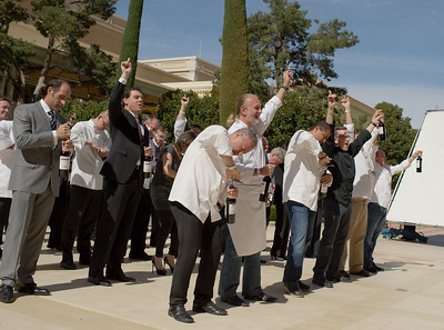 Vegas Uncork'd Ceremony at Bellagio Vegas Casino sets Guinness World Record for uncorked wine bottles 308 chefs uncorking their wine bottle in 30 seconds as timed by Michael of Guinness World Records Judge on hand from New York City http://member.guinnessworldrecords.com/adj_application/apply.aspx?lang= Photographs by Mark Bowers of ReallyVegasPhoto.com.