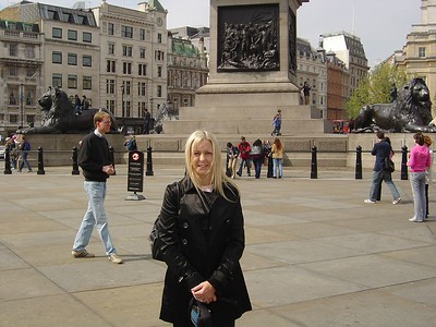 Me in Trafalgar Square in London. It's a little like Times Square in NYC.