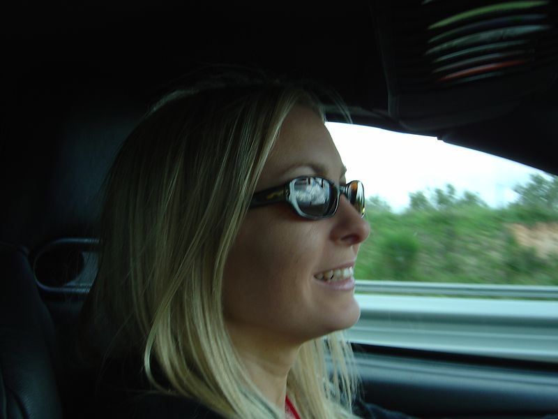 Me having fun behind the wheel. I was very happy to have a  short reprieve from my backseat spot, although it ended up being pretty cozy.