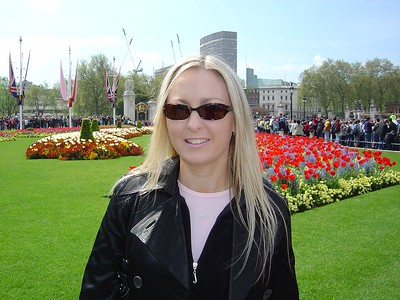 Me in front of the gardens at the Palace. You can see all the people lined up waiting to see the soldiers parading by.