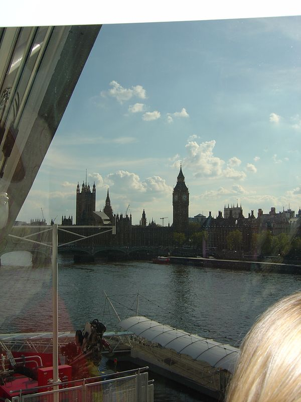The shadow of Big Ben in the distance.