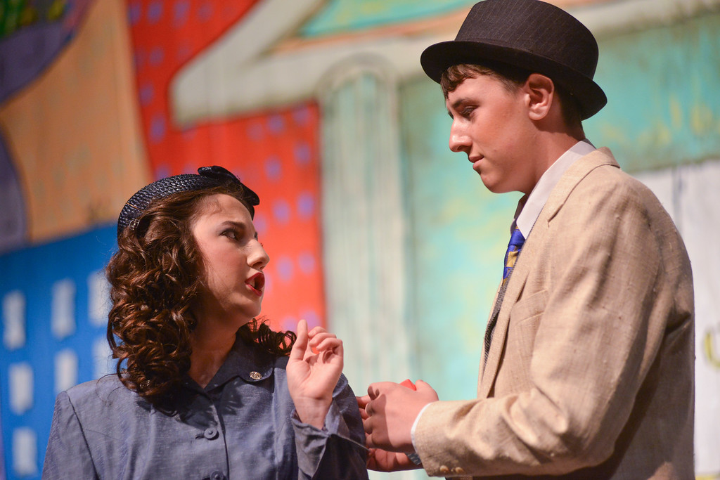 "Justin Sheely | The Sheridan Press<br /> Fifteen-year-old Pyper Tiffany, as Ms Adelaide, left, issues a warning to Nathan Detroit, by Daley Sissen, during a dress rehearsal for ""Guys and Dolls Jr."" at the Wyoming Performing Arts and Education Center Tuesday, June 12, 2018. The Tandem Productions presentation is comprised of young thespians, ages 8-15. The play shows Wednesday through Saturday, June 13 - 16, at 7:30 p.m. Tickets are available at the WYO box office or online at wyotheater.com."