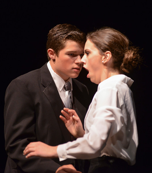 "Justin Sheely | The Sheridan Press<br /> Madisyn Danforth, as Sarah Brown, reacts after falling for a kiss with Sky Masterson, by Zach Allen, during a dress rehearsal for ""Guys and Dolls Jr."" at the Wyoming Performing Arts and Education Center Tuesday, June 12, 2018. The Tandem Productions presentation is comprised of young thespians, ages 8-15. The play shows Wednesday through Saturday, June 13 - 16, at 7:30 p.m. Tickets are available at the WYO box office or online at wyotheater.com."