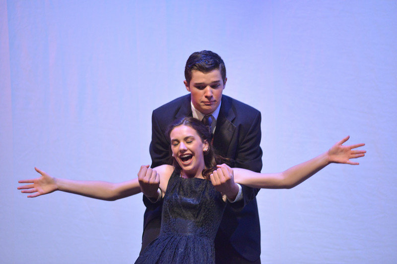 "Justin Sheely | The Sheridan Press<br /> Madisyn Danforth, as Sarah Brown, falls into Sky Masterson, by Zach Allen, during a dress rehearsal for ""Guys and Dolls Jr."" at the Wyoming Performing Arts and Education Center Tuesday, June 12, 2018. The Tandem Productions presentation is comprised of young thespians, ages 8-15. The play shows Wednesday through Saturday, June 13 - 16, at 7:30 p.m. Tickets are available at the WYO box office or online at wyotheater.com."