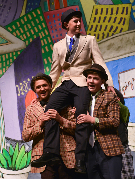 "Justin Sheely | The Sheridan Press<br /> Nathan Detroit, by Daley Nissen, is lifted by Zane Myers, left, and Ethan McGill during a dress rehearsal for ""Guys and Dolls Jr."" at the Wyoming Performing Arts and Education Center Tuesday, June 12, 2018. The Tandem Productions presentation is comprised of young thespians, ages 8-15. The play shows Wednesday through Saturday, June 13 - 16, at 7:30 p.m. Tickets are available at the WYO box office or online at wyotheater.com."