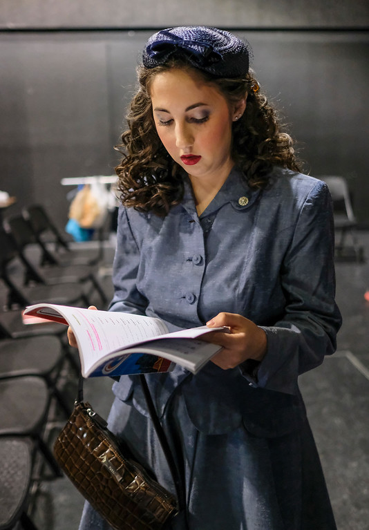 "Justin Sheely | The Sheridan Press<br /> Fifteen-year-old Pyper Tiffany, as Ms Adelaide reviews, the book during a dress rehearsal for ""Guys and Dolls Jr."" at the Wyoming Performing Arts and Education Center Tuesday, June 12, 2018. The Tandem Productions presentation is comprised of young thespians, ages 8-15. The play shows Wednesday through Saturday, June 13 - 16, at 7:30 p.m. Tickets are available at the WYO box office or online at wyotheater.com."