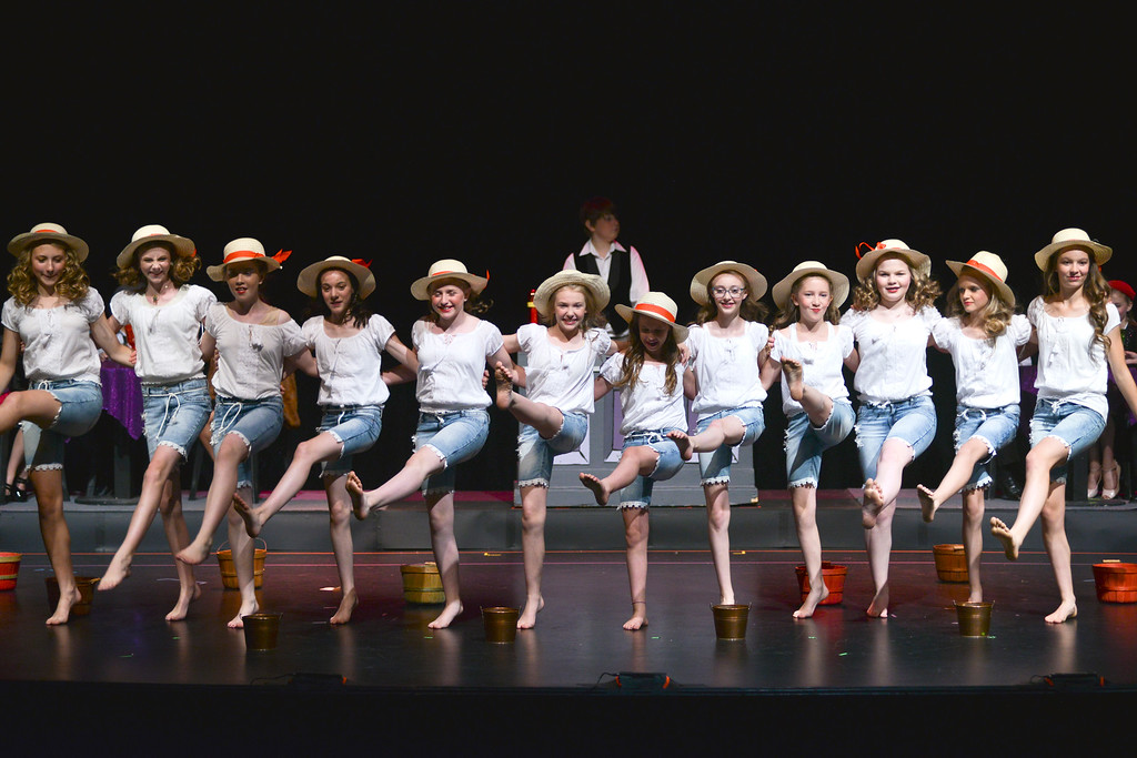 "Justin Sheely | The Sheridan Press<br /> Dolls dance during a dress rehearsal for ""Guys and Dolls Jr."" at the Wyoming Performing Arts and Education Center Tuesday, June 12, 2018. The Tandem Productions presentation is comprised of young thespians, ages 8-15. The play shows Wednesday through Saturday, June 13 - 16, at 7:30 p.m. Tickets are available at the WYO box office or online at wyotheater.com."