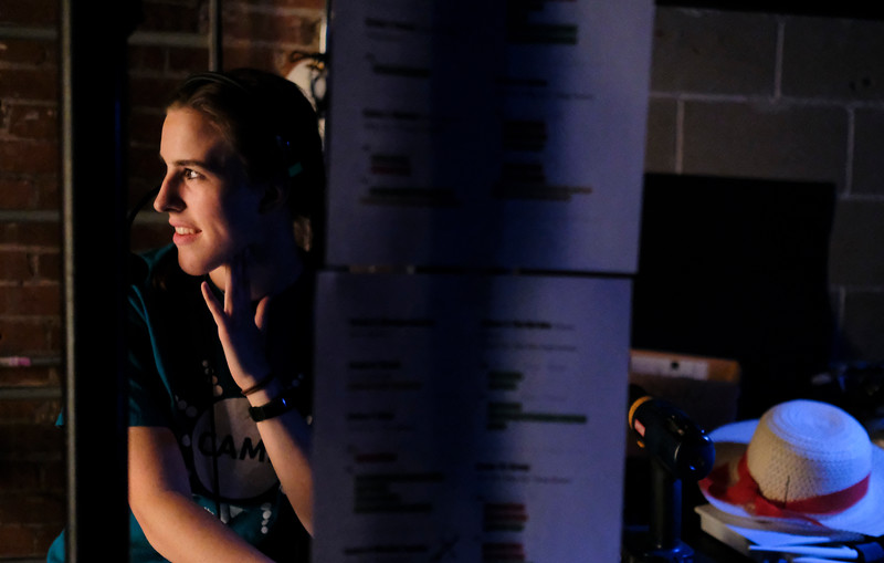 "Justin Sheely | The Sheridan Press<br /> Katie Campbell looks on from the stage wing during a dress rehearsal for ""Guys and Dolls Jr."" at the Wyoming Performing Arts and Education Center Tuesday, June 12, 2018. The Tandem Productions presentation is comprised of young thespians, ages 8-15. The play shows Wednesday through Saturday, June 13 - 16, at 7:30 p.m. Tickets are available at the WYO box office or online at wyotheater.com."