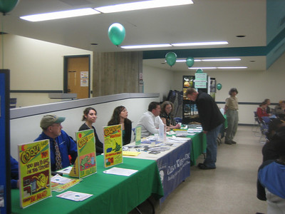 City of Holyoke/Aquarion Services table (foreground) promoting Holyoke Clean Sweep (April 20-23, 2007), and then the Clean Water Action table, and others