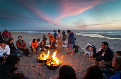 Campfire by the Dunes at Sunset