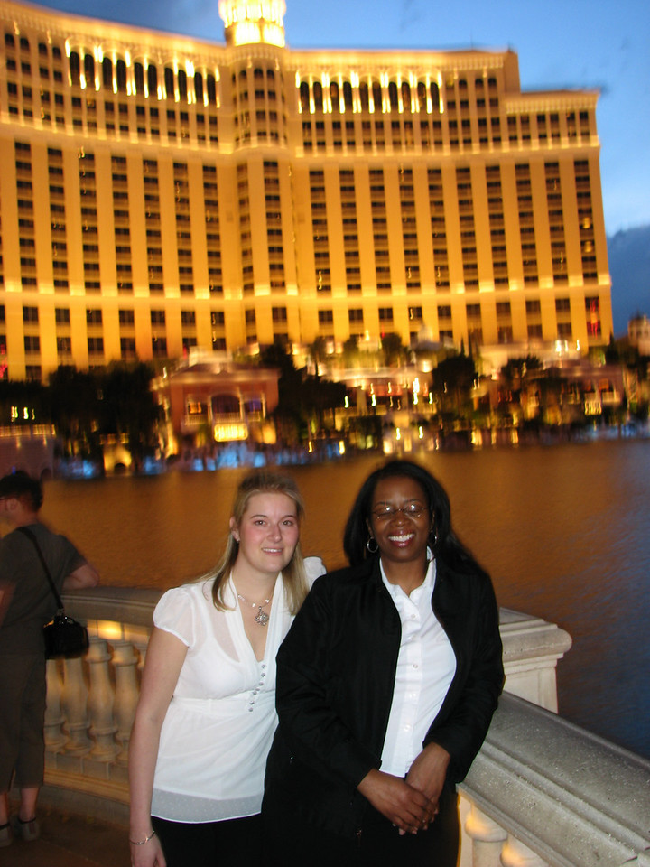 Ashlee and Sirena in front of Bellagio.