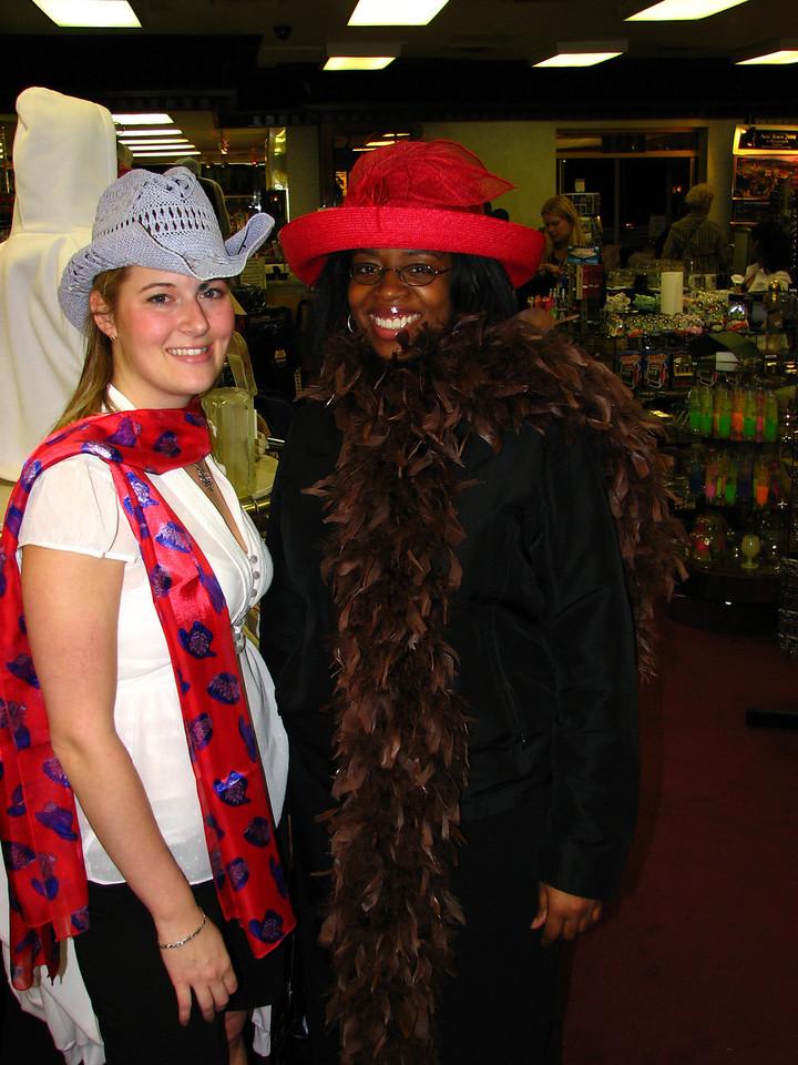 Ashlee and Sirena model the latest in cheap Las Vegas souvenir shop fashion.