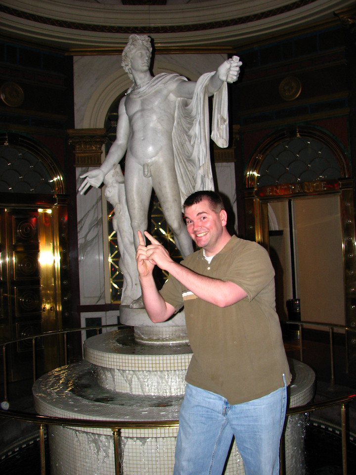 Brett and the statue.