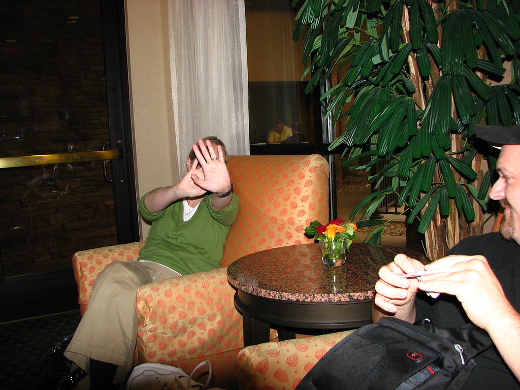 Kathy R. protests having her picture taken while Jeff looks on.