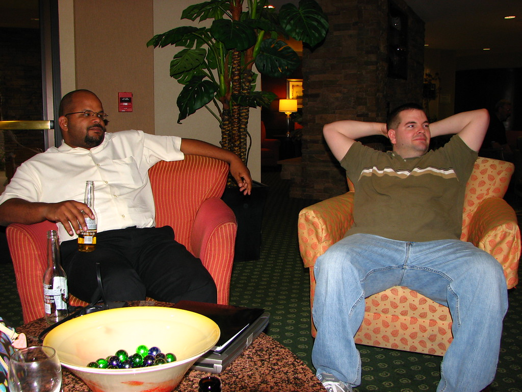 Aaron and Brett rest up for a wild night on the town.