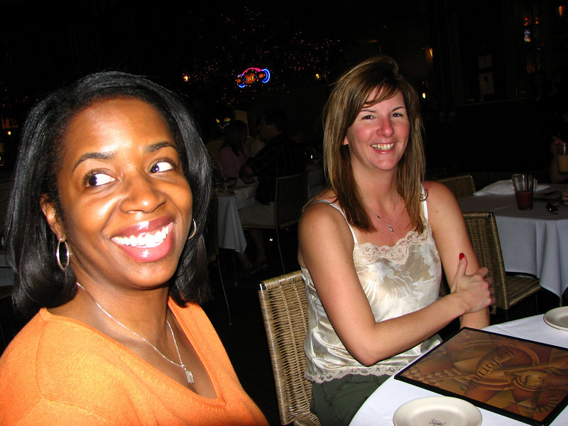 Sirena and Cheryl at dinner.