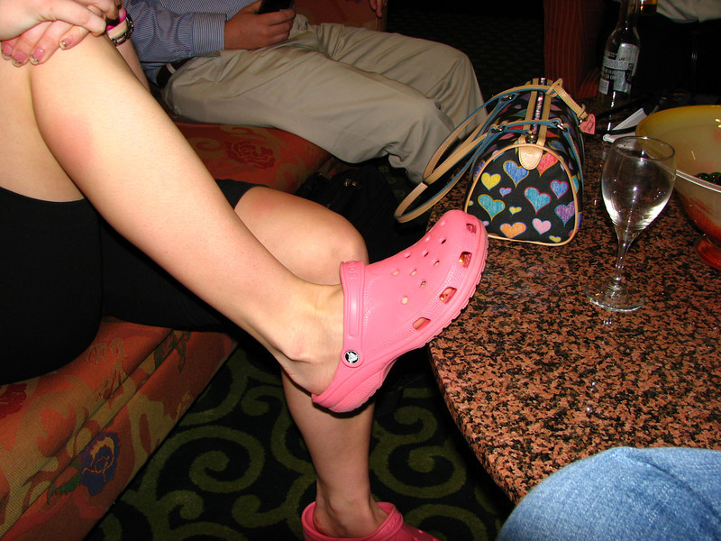Ashlee models her comfortable pink shoes.