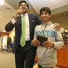 NETSCOUT and Shooting Stars Foundation host Star-Hacks on for middle and high school students. Jay Mohanka of Shrewsbury, inside sales rep with NETSCOUT, announces Vidyut Suresh, 14, of Acton, had just won a drone, in one of the hourly drawings. (SUN Julia Malakie)
