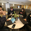 NETSCOUT and Shooting Stars Foundation host Star-Hacks on for middle and high school students. From left, Nashoba Tech freshman Rajin Kichannagari and sophomores Mike Carpenter and Georgia Sarrategui, all of Chelmsford, and Newton North junior Lasya Thavanati, work on Blue Heart, an app/device to wear on the wrist and send an alert via Bluetooth if the wearer's heart rata goes above or below their healthy range. (SUN Julia Malakie)
