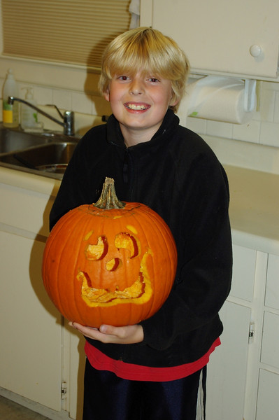 First pumpkin he did all by himself