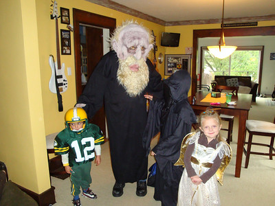 Aaron Rodgers of the Packers (Davis), The Troll (me), The Angel of Death (Jack) and The Good Angel (Rachel).