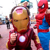 Remi Cordova, 3, as Ironman, and Yubraj Kc, 5, show their superhero displeasure in being photographed on the Pearl Street Mall Halloween evening.<br /> Photo by Paul Aiken