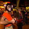 Lori and Mike Wallace as an organ grinder and her monkey on the Pearl Street Mall Halloween evening.<br /> Photo by Paul Aiken