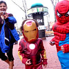 Ambika Adhikari, chases her nephew Yubraj Kc, dressed as Spiderman and Remi Cordova, dressed as Ironman on the Pearl Street Mall Halloween evening.<br /> Photo by Paul Aiken