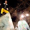 Matt Reid, of Boulder, climbs the ornamental rock on the Pearl Street Mall on Halloween night, Oct. 31, 2009.  <br /> KASIA BROUSSALIAN / THE CAMERA