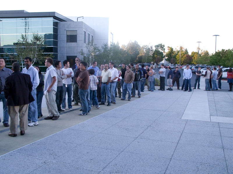A small part of the line to get into the Microsoft Mountain View facility for the launch party