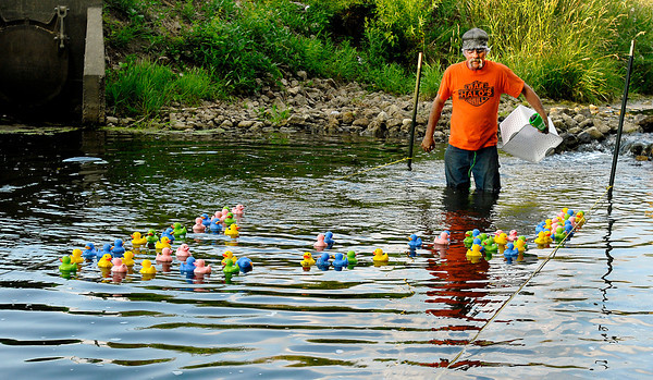 """Halo's """"duck master"""" Jimmie Norris watches the race after releasing the 75 ducks for the start of the race down Pipe Creek."""