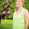 "Melanie Wambold and ""Kalala"" aka ""Meep"" the Great Horned Owl"