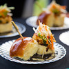 Mini Pan Seared Jumbo Lump Crab Cake Sandwich with Spicy Avocado, Radish, & Cucumber by Chef Lynn Bound of the Cafes at the Museum of Modern Art