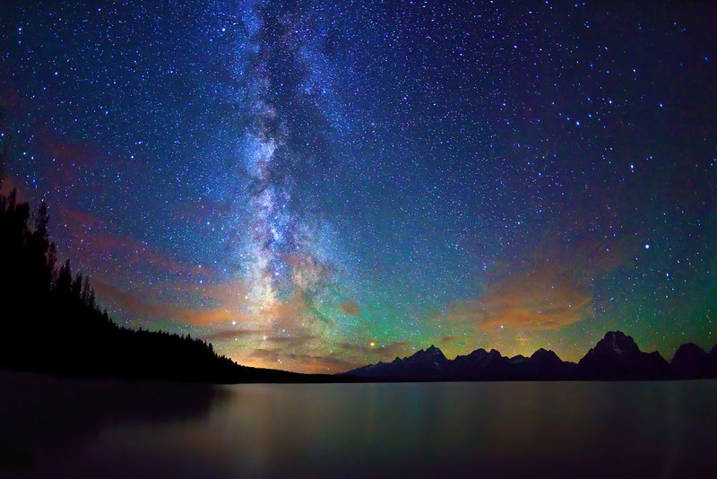 Stars, Milky Way, Jackson Lake, Grand Teton NP