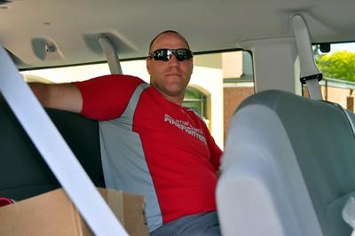 relaxing in the van