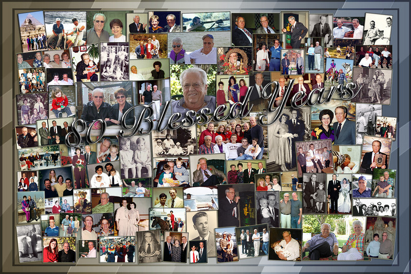 This photo collage was created from 80 years of photos taken; Dad is in most of them, and there were boxes of slides that I just did not have the time to go through before the party to include them here...  Some wonderful memories here of a life that is being well lived!  sb