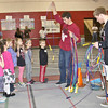 CSC students C.J. Clark, center, and Jordan DeBus, right, hand out jump ropes Wednesday in the Nelson Physical Activity Center. (Tena L. Cook/ Chadron State College)