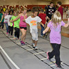Children participating in the annual Jump Rope for Heart activity Wednesday in the NPAC atChadron State College.
