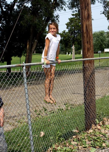 Gabby, surveying the school damage.