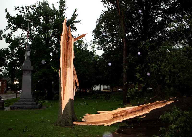 Looking south this tree had to be 80ft tall and 3ft in diameter.  I am not sure if this was lightening or pure wind!  By 8:00 pm the same day, the tree was gone.