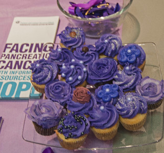 PURPLE IS THE COLOR FOR PANCREATIC CANCER  Purple mini cupcakes from Ruby K's. Hard to resist...